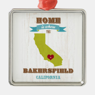 Bakersfield, California Map – Home Is Where Christmas Ornament