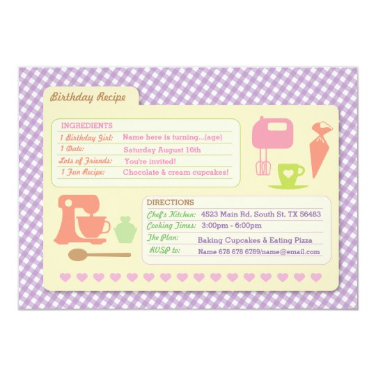 Bakery Baking Recipe Card Birthday Party invite