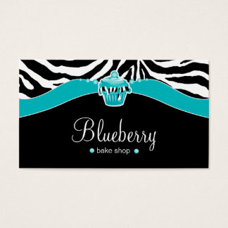 Bakery Blue Cupcake Zebra Animal Print Business Card