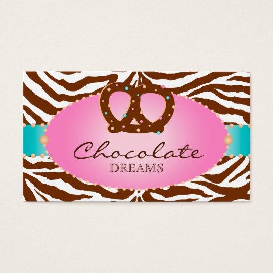 Bakery Business Card Chocolate Pretzel blue