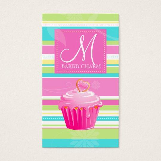 Bakery Business Card Vintage Stripes Pink