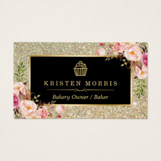 Bakery Cupcake Logo | Floral Gold Glitter Sparkles
