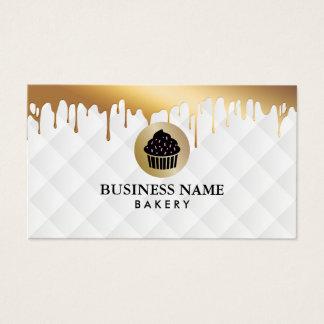 Bakery Cupcake Logo Gold Drips Elegant White Business Card