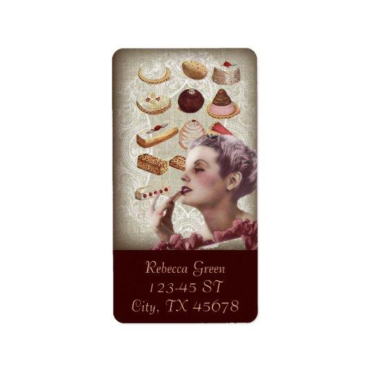 bakery cupcake pastry retro lady paris address label