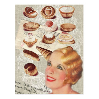 bakery cupcake pastry retro lady paris postcard