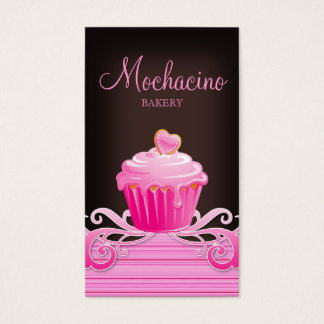 Bakery cupcake pink swirls chocolate brown business card