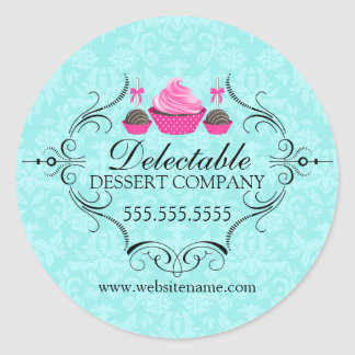 Bakery Damask Aqua and Pink Classic Round Sticker