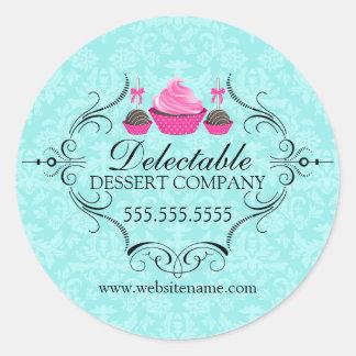 Bakery Damask Aqua and Pink Round Sticker