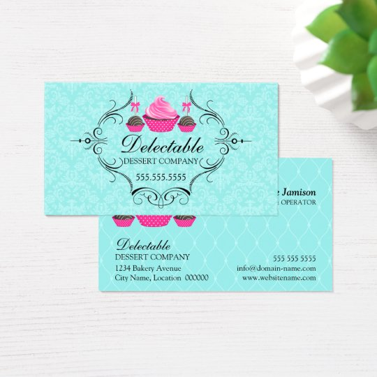 Bakery Damask Aqua Pink Business Card