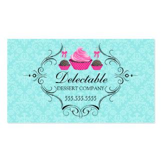 Bakery Damask Aqua Pink Business Cards