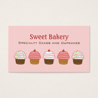 Bakery Elegant Pink Cupcake Girly Cake Business Card