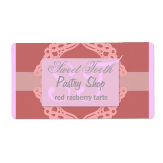 Bakery label pink and silver lace shipping label
