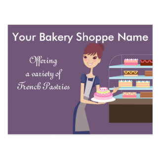 Bakery Pastry Shop 4 Design Postcards