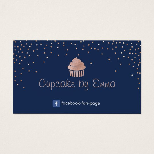 Bakery Rose Gold Cupcake Modern Confetti Navy Blue