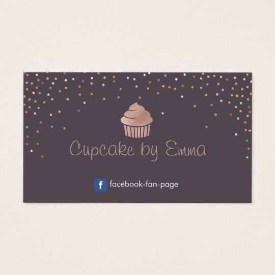 Bakery Rose Gold Cupcake Modern Confetti Purple Business