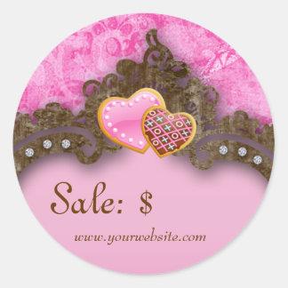 Bakery Sale Price Tag Vintage Damask Pink Cookies Stickers