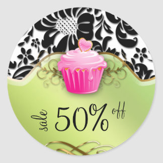 Bakery Sticker Cupcake Floral Gold Pink Lime Green