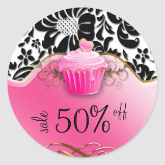 Bakery Stickers Cupcake Floral Gold Pink
