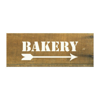 Bakery Vintage Inspired Old Wooden Sign Canvas Prints