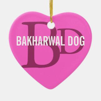 Bakharwal Dog Monogram Design Ceramic Heart Decoration