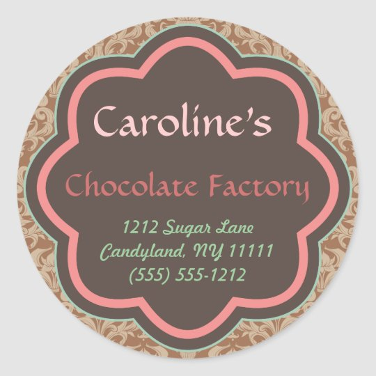 Baking and Bakery Boutique, Chocolate Factory Round Sticker
