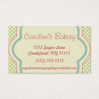 Baking and Bakery Boutique, Green Polka Dot Business Card