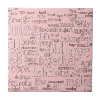 Baking and Culinary Words Small Square Tile