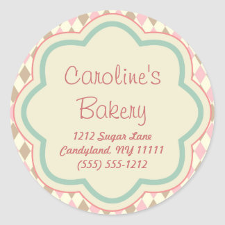 Baking Bakery Boutique, Pink Brown Geometric Classic Round Sticker