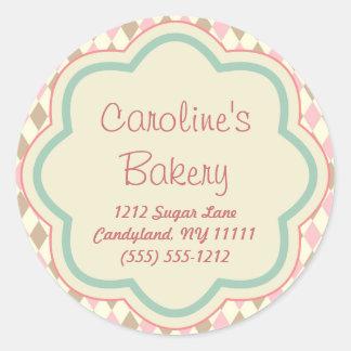 Baking Bakery Boutique, Pink Brown Geometric Round Sticker