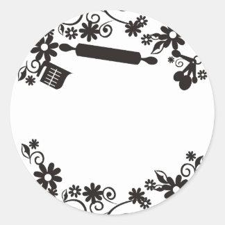 baking bakery utensils flowers gift tag sticker