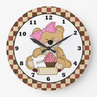 Baking Bear cartoon kitchen wall clock