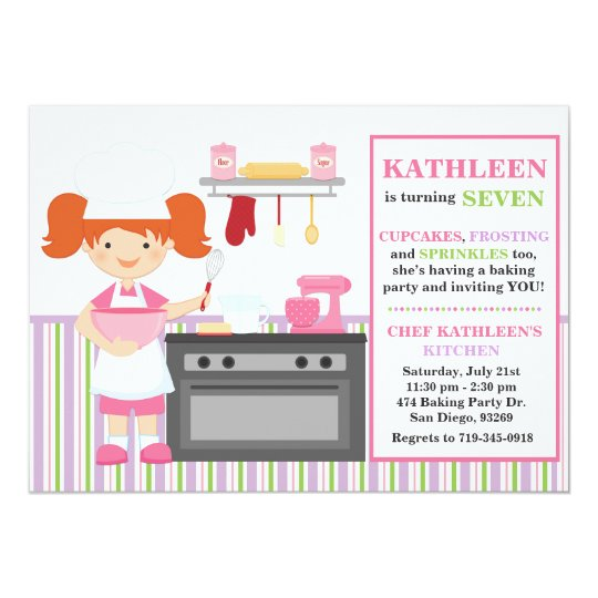 Baking Birthday Party Invitation Red Hair