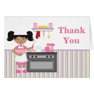 Baking Birthday Party Thank You African American Card