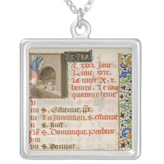 Baking Bread, from a Book of Hours Silver Plated Necklace