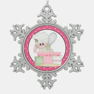 Baking Bunny Christmas pewter snowflake ornament