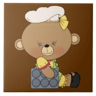 Baking Chef Baker Bear With Cupcake Pan Large Square Tile