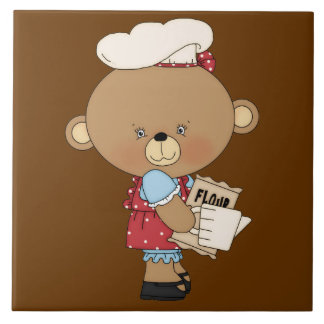 Baking Chef Baker Bear With Ingredients Large Square Tile