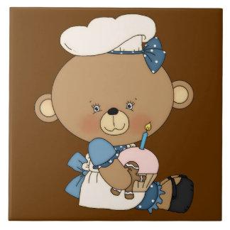 Baking Chef Baker Bear With Pink Cupcake Tile