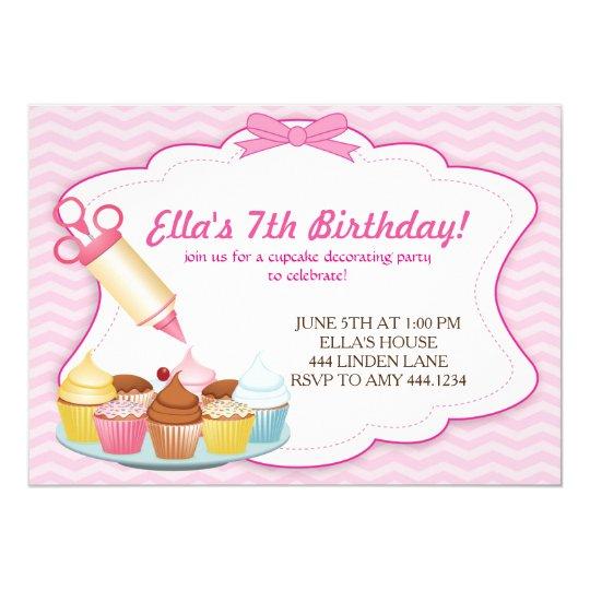 Baking Cupcake Decorating Birthday Invitations