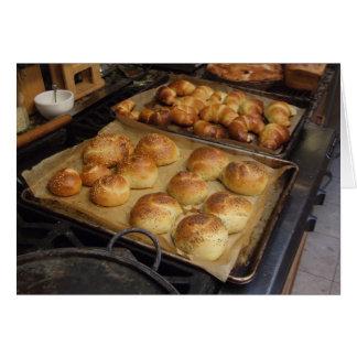 Baking fresh bread, Notecard Greeting Card