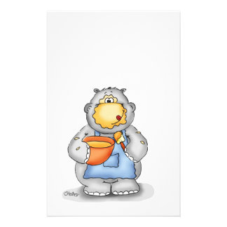 Baking Hippo eating dough - Personalize with name Stationery