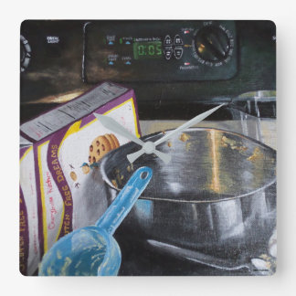 Baking in Kitchen Hand Painted Square Clock