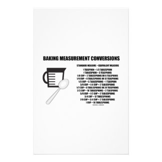 Baking Measurement Conversions (Measure) Stationery Paper