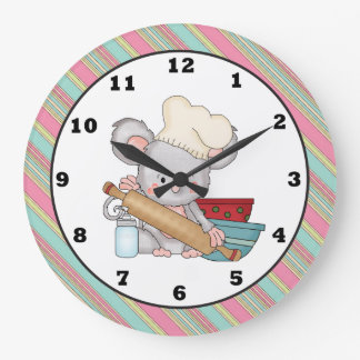 Baking Mouse cartoon kitchen wall clock