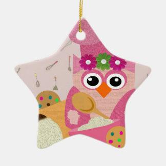 Baking Owl Ceramic Star Decoration