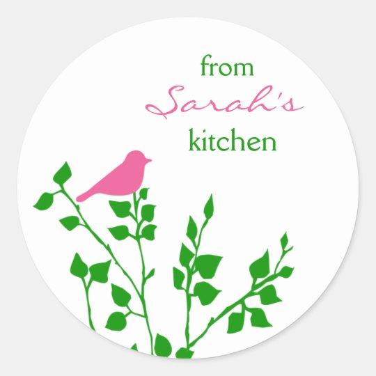 Baking Pink Green Bird Custom Name Stickers