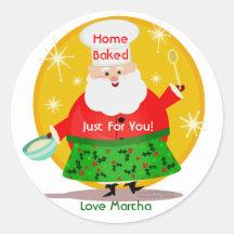Baking Santa Christmas Custom Stickers