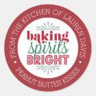 Baking Spirits Bright Personalised Holiday Baking Classic Round Sticker