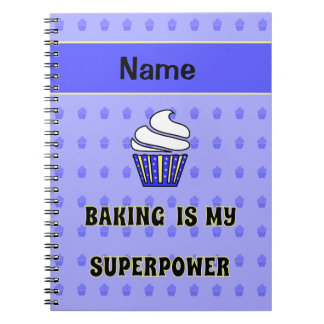 Baking superpower blue cupcakes personalized notebooks