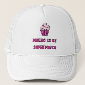 Baking superpower pink cupcake trucker hat